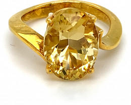 Scapolite 7.10ct Solid 18K Yellow Gold Ring