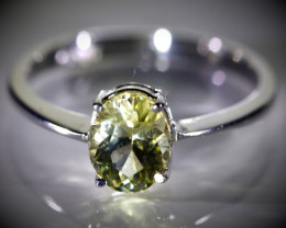Yellow Tourmaline 1.40ct Solid 18K White Gold Ring