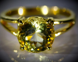 Scapolite 3.83ct Solid 18K Yellow Gold Ring