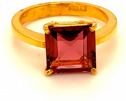 Rubellite 3.13ct Solid 22K Yellow Gold Ring
