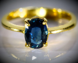 Royal Blue Sapphire 2.11ct Solid 22K Yellow Gold Ring Untreated