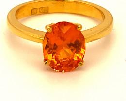 Mandarin Spessartine 3.10ct Solid 22K Yellow Gold Ring