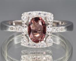 Natural Rhodolite Garnet, CZ and 925 Silver Ring