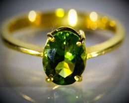 Green Tourmaline 1.70ct Solid 22K Yellow Gold Ring