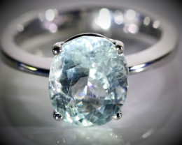 Aquamarine 3.82ct Solid 18K White Gold Ring