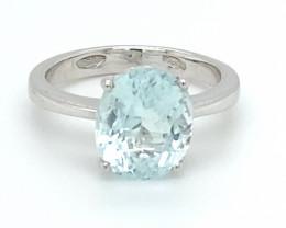 Aquamarine 3.82ct Solid 18K White Gold Ring