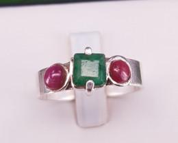 Natural Emerald + Ruby Ring.