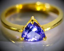 Tanzanite 1.03ct Solid 22K Yellow Gold Ring