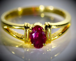 Mozambique Ruby .80ct Solid 18K Yellow Gold Ring