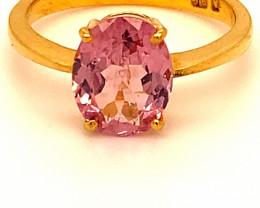 Tajik Pink Spinel 3.20ct Solid 22K Yellow Gold Ring
