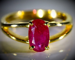 Tajik Ruby 1.45ct Solid 18K Yellow Gold Ring
