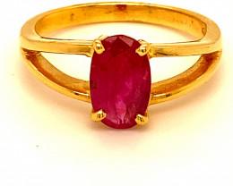 Tajik Ruby 1.45ct Solid 18K Yellow Gold Ring