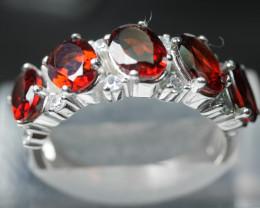 Natural Garnet Ring  92.5 Solid Silver RING (8.25 US) Z44