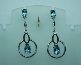 Natural Swiss Blue Topaz Earrings  92.5 Solid Silver.Z29