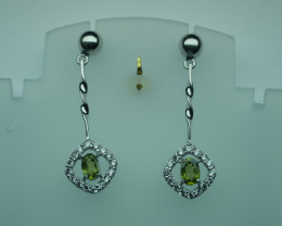 Natural Peridot Earrings 92.5 Solid Silver. Z26