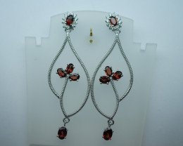 Natural Garnet Earrings 92.5 Solid Silver. Z21