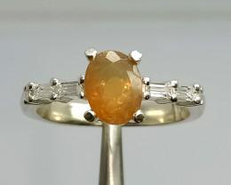 Beautiful Fire Opal CZ Ring 925 Sterling Silver