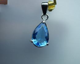 Natural Blue Topaz Pendants 92.5 Solid Silver. Z24