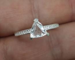 12.00 Carats Aquamarine 925 Silver Ring, 8x8x3 mm.