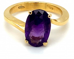 Amethyst 2.52ct Solid 18K Yellow Gold Ring