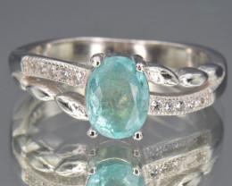 Natural rare Emerald, CZ and 925 Silver Ring