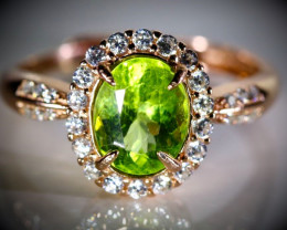 Peridot 1.65ct Rose Gold Finish Solid 925 Sterling Silver Ring