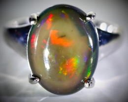 Black Opal 4.58ct Platinum Finish Solid 925 Sterling Silver Ring