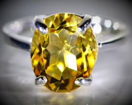 Citrine 3.30ct Platinum Finish Solid 925 Sterling Silver Ring