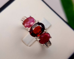 Natural Ruby and garnet with CZ Ring.