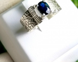 Natural Heated Blue Sapphire 18K Silver Ring.