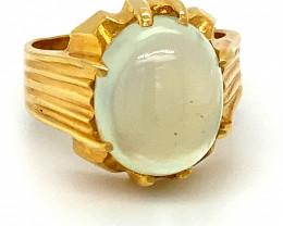 Prehnite 10.32ct Solid 18K Yellow Gold Ring  c10grams