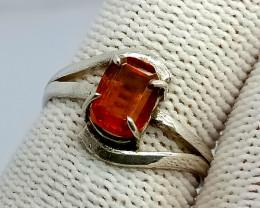 Natural Hessonite Garnet 925 Sterling Silver Ring