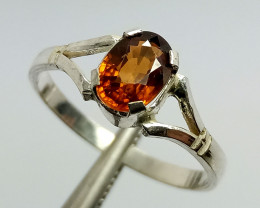 Natural Hessonite GarnetSolitaire Ring 925 Sterling Silver
