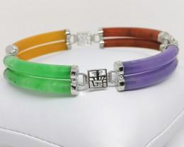 Multicolored Jadeite Jade Bracelet 9.15 TCW