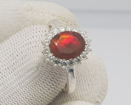 Natural Fire Opal 15.85 Carats 925 Silver Ring I03