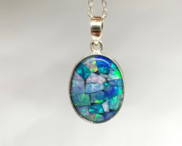 Pretty Mosaic Australian Opal and Sterling Silver Pendant includes chain (z