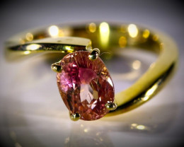 Padparadscha Tourmaline 2.52ct Solid 18K Yellow Gold Ring