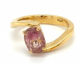 Padparadscha Tourmaline 2.52ct Solid 18K Yellow Gold Ring