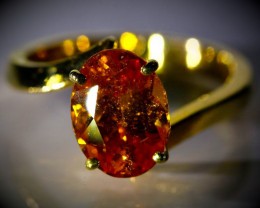Mandarin Spessartine 3.36ct Solid 22K Yellow Gold Ring