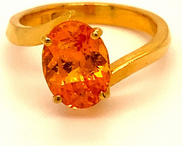Mandarin Spessartine 3.36ct Solid 22K Yellow Gold Ring