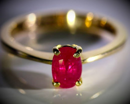 Burmese Ruby 1.05ct Solid 18K Yellow Gold Ring Natural Untreated