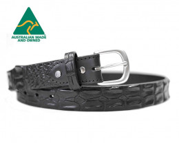 AUSTRALIAN SALTWATER CROCODILE SKIN GENUINE LEATHER BELTS [BLACK]