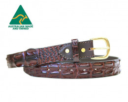 AUSTRALIAN SALTWATER CROCODILE SKIN GENUINE LEATHER BELTS [chocolate]