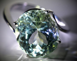 Aquamarine 10.25ct Solid 18K White Gold Ring Sz 6