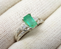 Natural Green Emerald CZ Ring 925 Sterling Silver