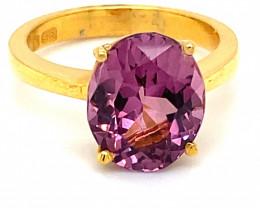 Pink Purple Tunduru Spinel 5.10ct Solid 22K Yellow Gold Ring