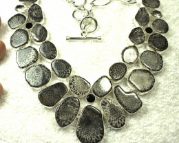 472.0 Tcw. Fossil Coral, Sterling Silver Necklace - Gorgeous