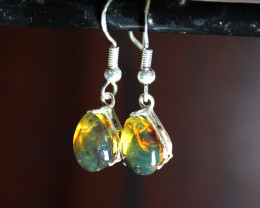 Dominican Natural Clear Light Blue Amber .925 Sterling Silver Earrings 1.2i