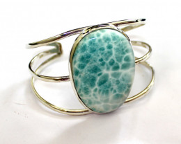 Impressive 1.7x1.2inch Natural Sky Blue Larimar .925 Sterling Silver Bangle