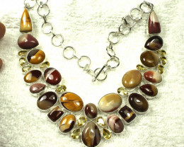 416.5 Total Carat Weight Mookaite Jasper Sterling Silver Necklace - Gorgeou
